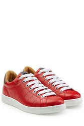 Dsquared2 Embossed Leather Tennis Club Sneakers Red