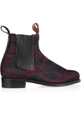 Penelope Chilvers Printed Calf Hair Chelsea Boots Red