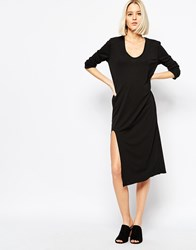 Weekday Dress With Front Slit Detail Black