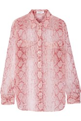 Equipment Slim Signature Snake Print Silk Shirt Baby Pink