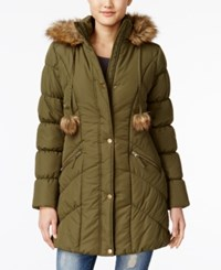 American Rag Faux Fur Trim Puffer Coat Only At Macy's Olive