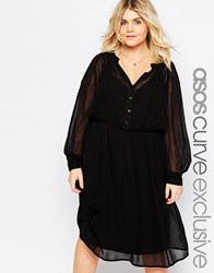 Asos Curve Soft Drapey Shirt Dress With Pintuck Detail Black