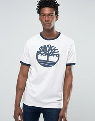 Timberland Logo Ringer T Shirt In White Picket Fence