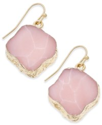 Macy's Gold Tone Natural Shape Stone Drop Earrings Pink