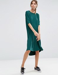 Asos Oversize T Shirt Dress With Curved Hem Teal Green