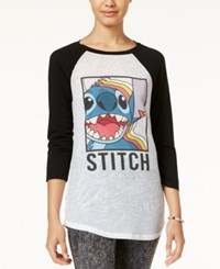 Mighty Fine Juniors' Disney Stitch Graphic Raglan T Shirt White