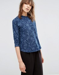 Ymc Brush Floral 3 4 Sleeve T Shirt Indigo Blue