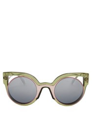 Fendi Bi Colour Round Frame Sunglasses Green Multi