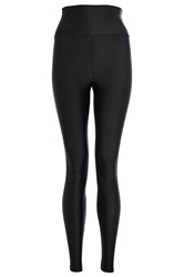 Quiz Shiny High Waist Disco Leggings Black
