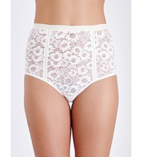 For Love And Lemons Skivvies Daisy High Rise Lace Briefs Ivory