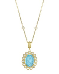 Penny Preville Faceted Oval Turquoise And Diamond Pendant Necklace Women's