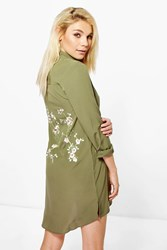 Boohoo Embroidered Back Shirt Dress Khaki