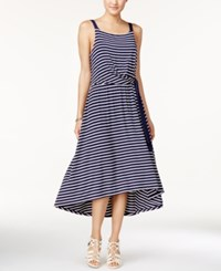 Maison Jules Striped Tie Front Midi Dress Only At Macy's Blu Notte Combo