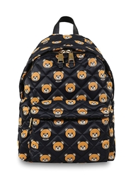 Moschino Quilted Bear Printed Backpack Black