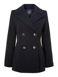 Adrianna Papell Double Breasted Peacoat Blue
