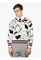 Thom Browne Men's White Butterfly Motif Sweater