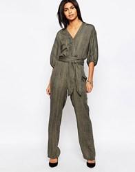 Pepe Jeans Donny Wrap Front Belted Jumpsuit 706Washed Army