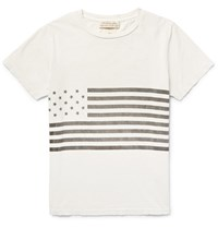 Remi Relief Flag Print Cotton Jerey T Hirt Off White