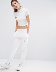 Missguided Distressed Hole Joggers White