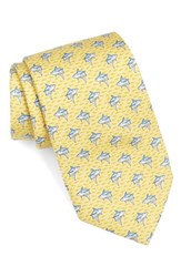 Vineyard Vines Men's Shark Print Silk Tie Yellow