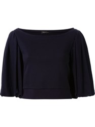 Dresscamp Cropped Puff Sleeve Top Blue