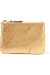 Comme Des Garcons Metallic Textured Leather Wallet Gold