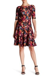 Taylor Multi Seamed Floral Fit And Flare Scuba Dress