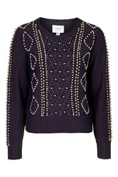 Crown Pearl Embellished Jumper By Jovonna Navy Blue