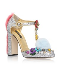 Dolce And Gabbana Glitter Charm T Bar Heels Female Silver