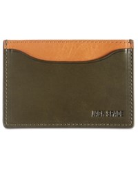 Jack Spade Mitchell Leather Credit Card Holder Green Tobacco