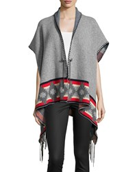 Christophe Sauvat Laurent Tribal Print Poncho Thunder