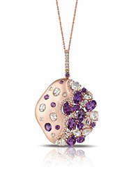 Marco Moore Diamond Amethyst And 14K Rose Gold Necklace Purple