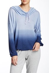 Pink Lotus Airflow Ombre Cowl Neck Sweater Blue