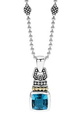 Women's Lagos 'Caviar Color' Pendant Necklace Blue Topaz