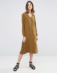 Warehouse Dropped Waist Shirt Dress Khaki Green