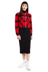 Esprit By Opening Ceremony Plaid Cropped Jacket Red Multi