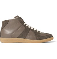 Maison Martin Margiela Replica Suede And Leather High Top Sneakers Mushroom