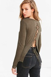 Kimchi And Blue Piper Lace Up Back Pullover Sweater Olive