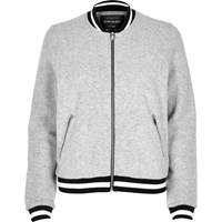 River Island Womens Light Grey Quilted Bomber Jacket