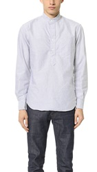 Gitman Brothers Vintage Band Collar Striped Oxford Popover Grey