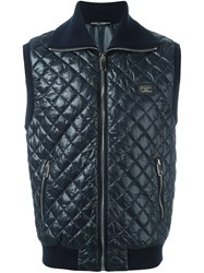 Dolce And Gabbana Quilted Gilet Blue