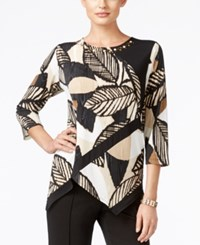 Alfred Dunner Madison Park Collection Printed Embellished Top Multi