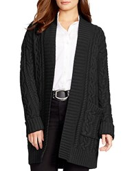 Lauren Ralph Lauren Plus Cable Knit Open Front Cardigan Black