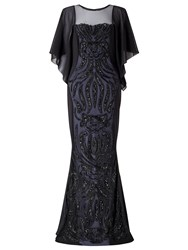 Ariella Willow Embellished Drape Dress Black