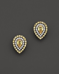 Bloomingdale's Yellow And White Diamond Pear Shaped Stud Earrings In 18K White And Yellow Gold White Yellow