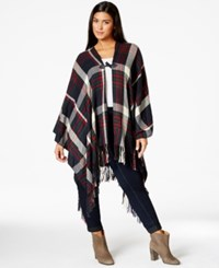 Love Squared Plus Size Printed Fringe Poncho Navy Red