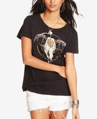 Denim And Supply Ralph Lauren Drapey Graphic T Shirt Polo Black Mounted Steer
