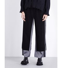 Undercover Contrast Wool And Cashmere Blend Trousers Black Grey