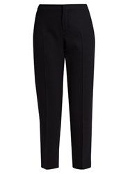 Chloe Slim Leg Wool Blend Cropped Trousers Navy