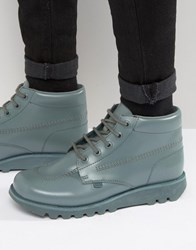 Kickers Kick Hi Leather Lace Up Boots Green